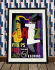 Vintage 1950s Saxophone Musician Phillips Records Jazz Poster Retro Burlesque