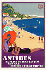 Art Deco French Travel Wall Poster Juan Les Pins 1920s Antibes Vintage Print