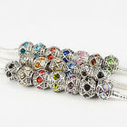 New Rhinestone Antique Silver Plated Charms Beads Fit European Bracelets Bangles