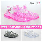 NEW BABY TODDLER CHILDRENS FLAT JELLY ANKLE STRAP SUMMER BEACH RETRO SANDALS