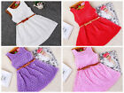 Girls summer lace princess party occasion dress with belt (sku329)