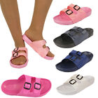 LADIES BUCKLE WOMENS JELLY POOL SLIDER MULES SUMMER SANDALS FLIP FLOP SHOES SIZE