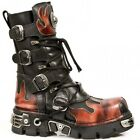 NEWROCK New Rock 591-S1 RED FLAME METALLIC BLACK LEATHER BOOT BIKER GOTH BOOTS