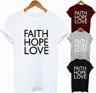 Women's Ladies Slogan T-Shirt Vest Top Faith Hope Love