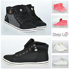 NEW Womens Diamante Jewel Lace Up High Top Flat Casual Trainers Shoes