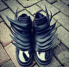 Men's Womens street fashion shoes sport Wing Leather knight boots Black