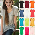 Women Ladies Casual Modal Short Sleeve Loose Basic Tee T-shirt Solid Top Blouse