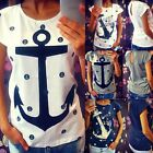 Fashion Womens Loose Short Sleeve Anchor Casual T Shirt Tee Tops Blouse 3 Sizes