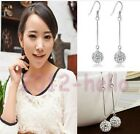 Women Vintage Long Silver Hook Earring CZ Crystal Stud Drop Dangle Earrings