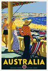 Vintage Art Deco Travel Poster Australia Bondi Beach Sydney 1920s Seashore Retro