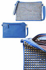 New Womens Handbag Ladies Clutch Pyramid Studded Shoulder Strap Faux Leather