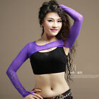 New Women Belly Dance Ballroom Bolero Shrug Stretch Mesh Glitter Arm Gloves