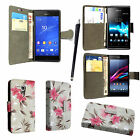 For Various Sony Xperia Phones PU Leather Book Side Flip Case Cover + Stylus
