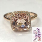 Morganite Diamond Engagement Wedding Ring,9mm Cushion Cut,14K Rose Gold Band