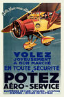 Vintage Art Deco French Aviation Poster 1930s Flying School Aeroplane Retro