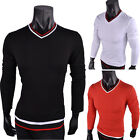 Mens Long Sleeve Plain Slim Fit V Neck Shirt Tops Casual T-shirts Shirt Tee Top