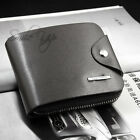 Mens Soft Black Brown Leather Bifold Credit Card Holder Purse Zip Wallet