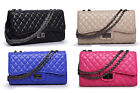 Womens Quilted Leather like Chain Clutch Shoulder Tote Bag Crossbody Handbags