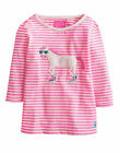 *BNWT* Joules Jnr Ava Sequined Horse 3/4 Sleeve Top - Neon Pink Stripe - SS15