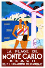 Vintage Art Deco Travel Poster Plage de Monte Carlo 1920s French Riviera Retro
