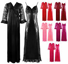 WOMENS SATIN LACE LONG NIGHTDRESS NIGHTY CHEMISE ON CLEARANCE