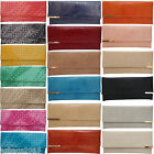 Ladies Womens Faux Leather Quilted Flap Envelope Evening Clutch Bag Purse