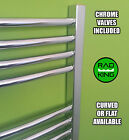 HEATED CHROME TOWEL RAILS DESIGNER BATHROOM FLAT OR CURVED WITH VALVES INCLUDED