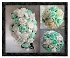 Wedding Flowers,Brides,Bridesmaids Bouquets Butterfly, Mint Green & White/Ivory