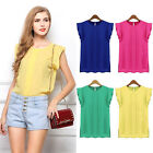 Leisure Lady Loose T-shirt Chiffon Short Sleeve SexyTops Blouse Size S-XL Green