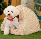 New Pastoralism Style Flower Cotton Pet Dog Cat House Bed Tent Beige Size S