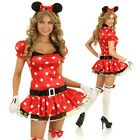 Adult Minnie Mouse Fairytale Costume Halloween Dress Up Hens Party Outfit & Ears