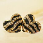 Fashion Women Black Heart Ear Stud Lady Crystal Rhinestone Earrings Jewelry Gift