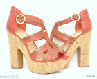 New BCBGeneration SANFORDX Open Toe T-Strap Sandal Platform Pump Red 8.5/9.5/10