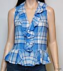 Nwt $89 Ralph Lauren Sleeveless Cotton Ruffle Blouse Shirt Top Tunic ~Blue/Multi