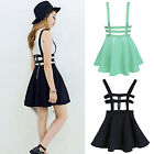 Women's Suspender Skirts Girls Pleated Short Braces Skirt Backless Zipper Hollow