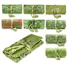 SILK JEWELRY TRAVEL BAG Green Brocade Fabric Organizer Roll Pouch Carrying Case