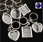 Mini Small Photo Frame Name Tag Key Ring Key chain Holder Novelty Gift her him