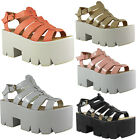 NEW WOMENS LADIES HIGH PLATPFORM CASUAL WEDGE CLEATED FASHION SANDAL SHOES SIZE