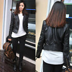 Women Slim Black Biker Motorcycle Synthetic Faux Leather Zipper Jacket Coat Pop