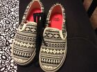 New Faded Glory fabric black white patterned slip on sneakers varied sizes