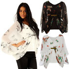 BRAND NEW LADIES BUTTERFLY PRINT BATWING SLEEVES GYPSY CHIFFON TOP SIZE 8-22