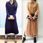 BRAND NEW URBAN MIST LONG CHIFFON COLLARED SUMMER MIDI SHIRT DRESS- NAVY SAND