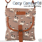 Ladies / Girls Canvas Small Pug Print Cross Body / Shoulder Bag (Beige)