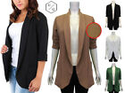 NEW WOMENS LADIES SHORT SLEEVE PLAIN TEXTURED SMART BLAZER JACKET TOP 8-14