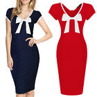 Fashion Red Sexy Women's Short Sleeve Party Evening Bodycon Cocktail Midi Dress