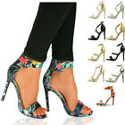 NEW LADIES WOMENS HIGH HEEL STILETTO SANDALS ANKLE STRAP BARELY THERE SHOES SIZE