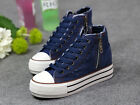 Fashion Women's High-Top Casual Sneakers Lace Up Side Zip Canvas Shoes