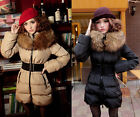 #18 Women Clothing White Duck Down Duvet Feathers Coats Big Fur Collar Jackets