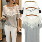 S-5XL Oversized Women Lady Lace Hollow Shawl Collar Batwing Sleeve Top Blouse