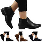 NEW WOMENS LADIES FLAT PULL ON ELASTICATED LOW HEEL CHELSEA BOOTS SIZES 3-8 UK